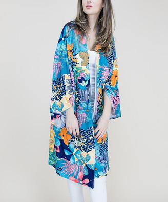 RQ Women's Kimono Cardigans AQUA - Aqua Tropical Floral Kimono - Women