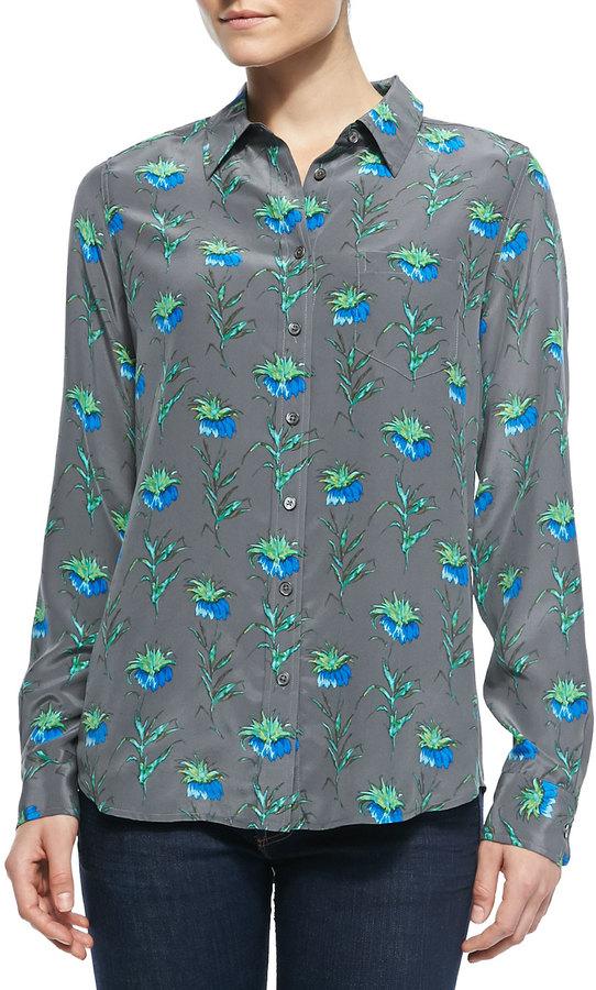 Equipment Brett Button-Down Floral-Print Blouse
