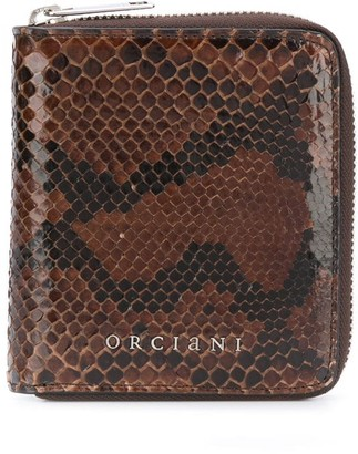 Orciani Python Effect Leather Wallet
