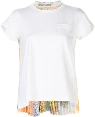 Sacai short sleeve pleated back T-shirt