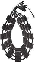 Josie Natori Acacia Wood With Silver Four Layer Necklace Black O/S