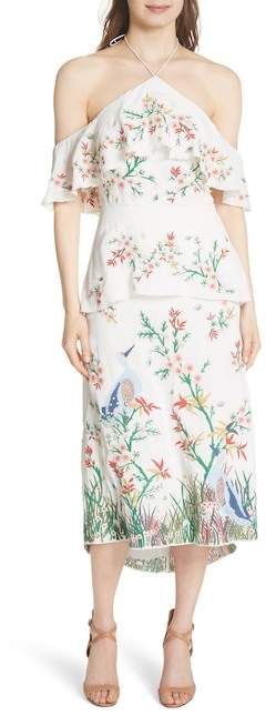Alice + Olivia Golda Embroidered Midi Halter Dress