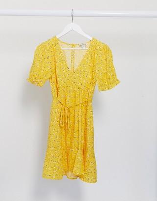 Miss Selfridge mini tea dress in yellow floral print