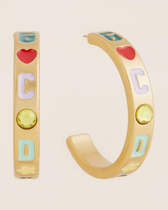 GCDS Logo Embellished Hoop Earrings