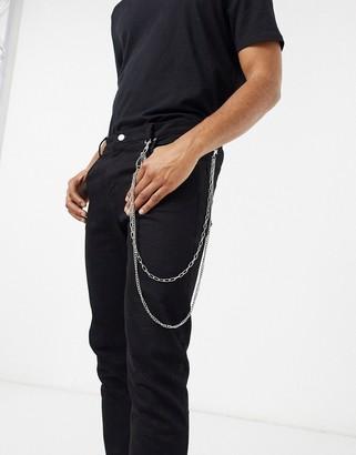 Designb London DesignB layered jean chain in silver with key charm