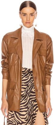 Andamane Carine Faux Leather Croco Print Jacket in Brown | FWRD