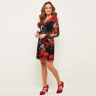 Joe Browns Long-Sleeved Floral Print Wrapover Dress