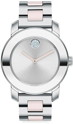 Movado Bold Evolution Ceramic, Stainless Steel Crystal Bracelet Watch