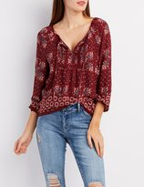 Charlotte Russe Floral Pintuck Tie-Neck Blouse