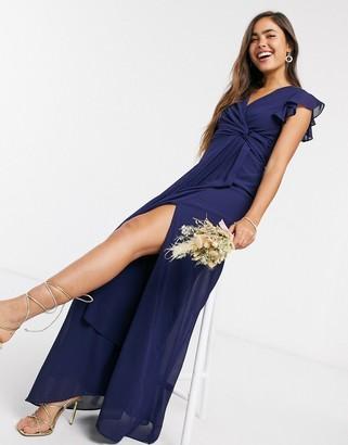 TFNC bridesmaid flutter sleeve ruffle detail maxi dress in navy