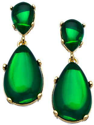 Kenneth Jay Lane Emerald Austrian Crystal Double Teardrop Earrings