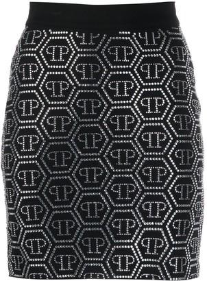 Philipp Plein Embellished Logo Skirt