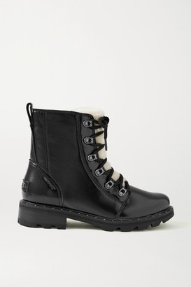 Sorel Lennox Lace Cozy Shearling-trimmed Waterproof Patent-leather Ankle Boots - Black