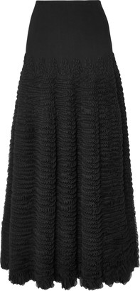 Alaia Ruffled Stretch-knit Midi Skirt