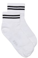HUE Mesh Stripe Womens Ankle Socks