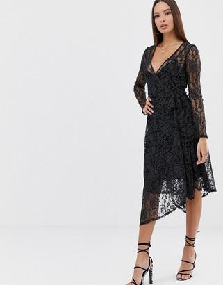 Asos Design DESIGN polka dot print lace midi wrap dress