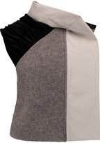 Rick Owens Draped paneled cotton-blend, velvet and wool-blend vest
