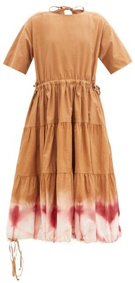 Story mfg. Emilie Tiered Clamp-dyed Organic-cotton Midi Dress - Beige Multi