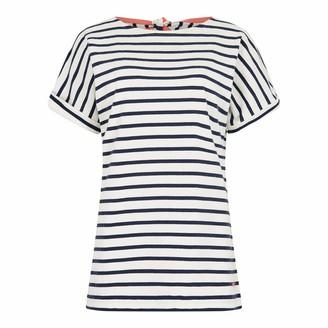 Weird Fish Esha Striped Jersey T-Shirt Light Cream Size 12