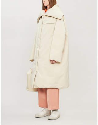 Jil Sander Lorna stripe-panel padded cotton coat