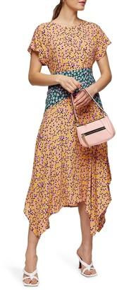 Topshop Floral Print Short Sleeve Midi Dress