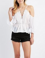 Charlotte Russe Crochet-Trim Lace-Up Cold Shoulder Top