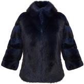 Diane von Furstenberg Noelle Black Blue Fur Jacket
