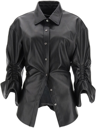 Alexander Wang GATHERED LEATHER SHIRT 4 Black Leather