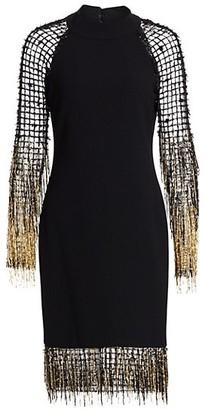 Pamella Roland Fringe Net Crepe Cocktail Dress