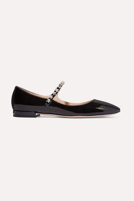 Miu Miu Crystal-embellished Patent-leather Mary Jane Ballet Flats - Black