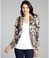 Wyatt black, olive and white floral print stretch cotton single button blazer