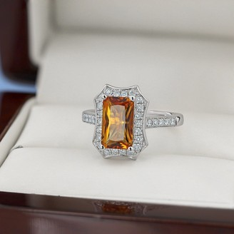 Auriya Vintage 1 3/4ct Emerald-cut Citrine and Halo Diamond Engagement Ring 3/8ctw 14k Gold
