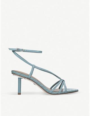 Sam Edelman Pippa croc-embossed leather heeled sandals