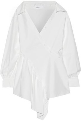 ADEAM Asymmetric Cotton-blend Poplin Wrap Shirt