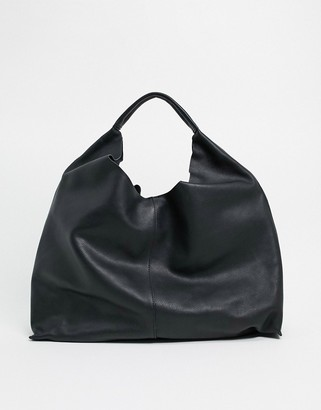 And other stories & leather tote bag in black