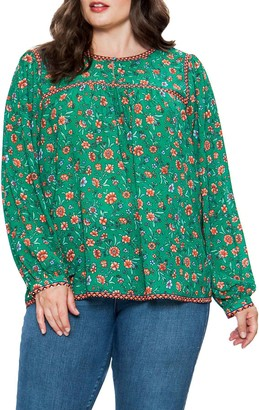 Flying Tomato Floral Printed Long Sleeve Blouse (Plus Size)