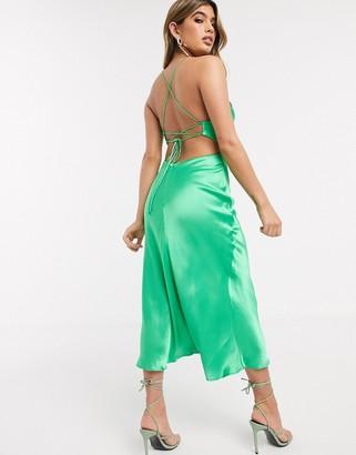 Bec & Bridge loren cut out midi slip dress in emerald