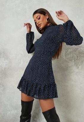 Missguided Polka Dot High Neck A Line Dress