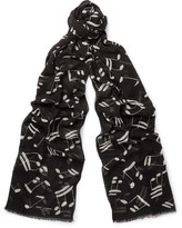 Saint Laurent - Music Note Wool Scarf