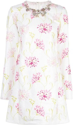 Giambattista Valli Floral Applique Embroidered Shift Dress