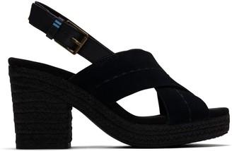 Toms Black Suede Veg Tan Leather Women's Ibiza Sandals