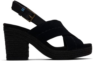 Toms Black Suede Vegetable Tanned Leather Women's Ibiza Sandals
