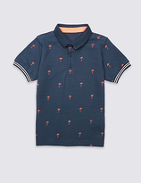 Marks and Spencer Pure Cotton Palm Print Polo Shirt (3 Months - 5 Years)