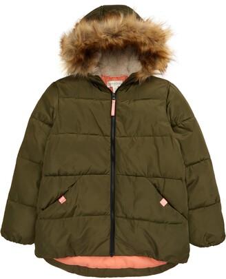 Treasure & Bond Kids' Faux Fur Trim Puffer Coat