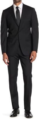 Calvin Klein Solid Black Two Button Notch Lapel Suit