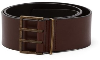 Saint Laurent Double-prong Leather Belt - Brown