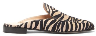 Gianvito Rossi Palau Zebra-print Suede Backless Loafers - Womens - Black Beige