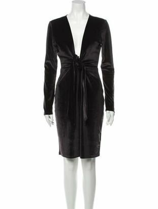 LPA Plunge Neckline Knee-Length Dress Grey