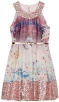 Ted Baker Girls Woodland Print Sequinned Trim Belted Dress
