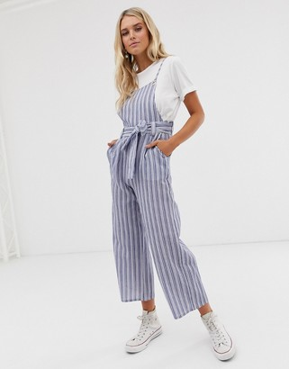 Glamorous pinafore jumpsuit in textured stripe-Blue